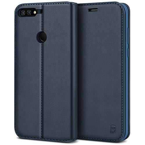 BEZ Hülle für Huawei Y7 2018Hülle, Handyhülle Kompatibel für Huawei Y7 2018 Tasche, Case Schutzhüllen aus Klappetui mit Kreditkartenhaltern, Ständer, Magnetverschluss, Blau Marine