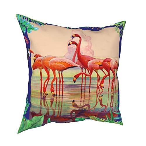 Reebos Fundas de almohada, diseño de flamencos rosados y flores tropicales, hojas para el hogar, fundas de cojín cuadradas para sofá, sala de estar, cama de 45,7 x 45,7 cm