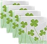 Set di 4 Portafortuna Happy St Patricks Day Trifoglio irlandese Quadrifoglio su tovaglioli di stoffa verde chiaro Tovaglioli in poliestere lavabili 20 'x 20' per tavolo da pranzo Festa di matrimo