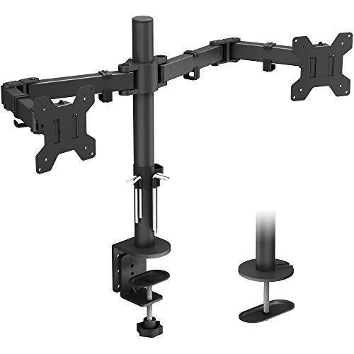 BONTEC Monitor Halterung 2 Monitore 15-30 Zoll Schwenkbar Neigbar Höhenverstellbar Monitor Schreibtisch Monitorhalterung Tisch Ständer Monitorständer Ergonomische – 8kg VESA 75/100 Schwarz