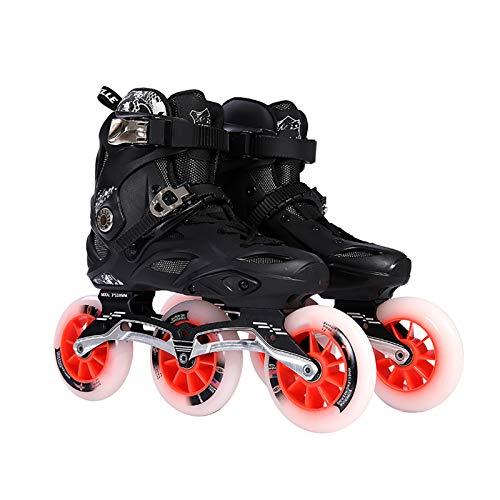 CYLQ Inline Skates 3 Wheelx110mm, Outdoor Children's Roller Skates, Racing Skate for Men and Women, Professional Speed Skates for Women and Men (Color : Black, Size : 45 EU/12 US/11 UK/27.5cm JP)
