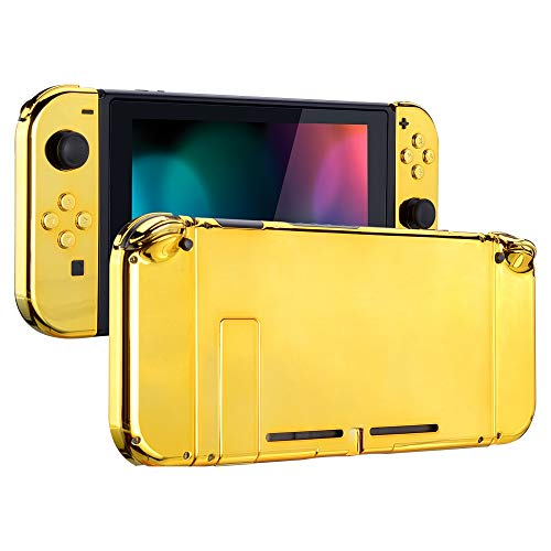 eXtremeRate Back Plate for Nintendo Switch Console, NS Joycon Handheld Controller Housing with Full Set Buttons, DIY Replacement Shell for Nintendo Switch - Chrome Gold