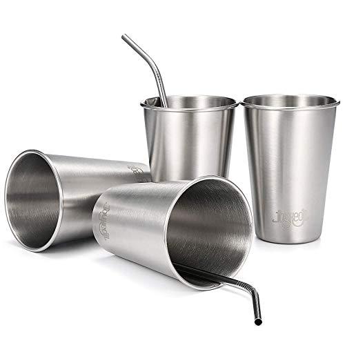 JOYXEON NuevaTaza de Acero Inoxidable apilables de 500ml con pajitas (Paquete de 4) Vasos de Acero de Grado alimenticio Tazas térmicas Vaso para Cerveza de Vino Bebida fresquita