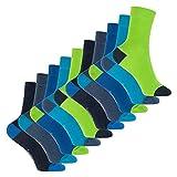 Footstar Kinder Baumwoll Socken (10 Paar) mit abgesetzter Ferse & Spitze - Caribbean 31-34