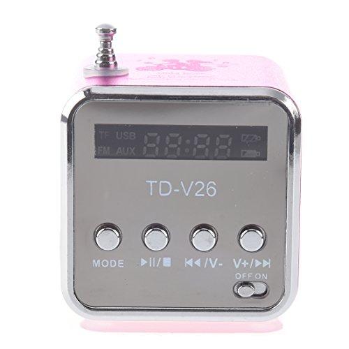 SODIAL (R) Mini TF Altavoz estereo USB Radio FM Music Player para PC MP3 iPhone 5S 5C SAMSUNG - Rosa