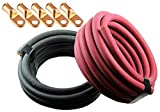 Crimp Supply Ultra-Flexible Car Battery/Welding Cable - 3/0 Gauge, (15 Feet Red/15 Feet Black) - and 5 Copper Lugs