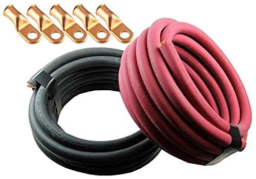 Crimp Supply Ultra-Flexible Car Battery/Welding Cable - 2/0 Gauge, (50 Feet Red/50 Feet Black) - and 5 Copper Lugs