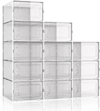 WAYTRIM Foldable Shoe Box, Stackable Clear Shoe Storage Box - Storage Bins Shoe Container Organizer, 12 Pack,White