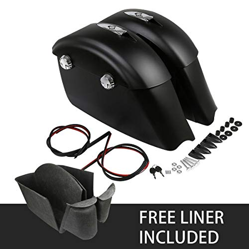 For Sale! TCMT Matte Black Saddlebag Electronic Latch Concert Audio Lid With Liners Fit For Indian C...