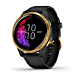Garmin Venu, GPS Smartwatch with Bright Touchscreen Display, Features Music, Body Energy Monitoring, Animated Workouts, Pulse Ox Sensor and More, Gold with Black Band (Renewed)