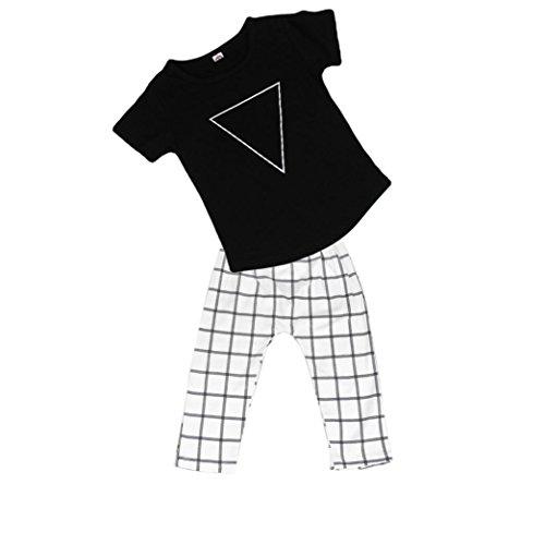 kingko® 1Réglez Toddler Enfants bébé garçons manches courtes T-shirt Tops + Pantalons pantalon à carreaux Vêtements (24M)
