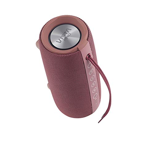 Vieta Pro Upper - Altavoz portátil (Bluetooth, Radio FM, micrófono integrado, True Wireless Dual pair, Reproductor USB, Lector de tarjeta Micro SD, Resistencia al agua IPX6), color grana