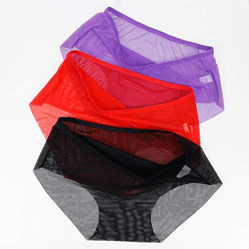 NING456 3 Unids/Lote Bragas Transparentes para Mujer Ropa Interior Femenina Bragas Sólidas Sin Costuras Bragas de Nailon para Mujer de Talla Grande