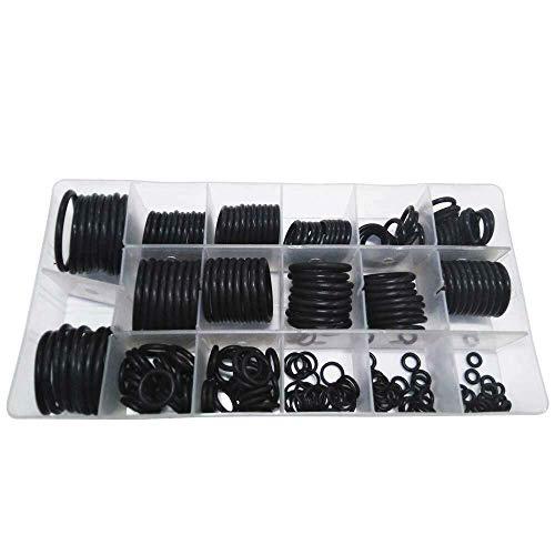 Juego de juntas tóricas 222 piezas de juntas tóricas de goma, 17 tamaños, juego de surtido de juntas tóricas eléctricas con estuche para plomería, reparación general de automóviles (negro)