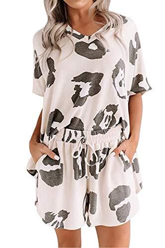 Ancapelion - Pijama para mujer con cuello en V, manga corta, ideal para verano y deportes Leopardo blanco. XL