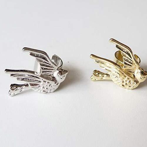 LIEQUAN Pendientes con Clip de Hueso de Oreja de gorrión de pájaro pequeño Golondrina Texturizada (Precio único)(Dorado)