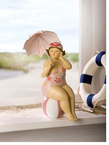 Dame im Badeanzug mit Metallschirm Stranddame Dicke Badenixe Sommerdekofigur Lady Rubens Maritimdekofigur Schwimmerinfigur Dekofigur mollige Frau