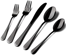 Acnusik Black Silverware Set Stainless Steel, 40 Pieces Utensil Serve for 8 Including Fork Spoon and Knife, Mirror Polished Flatware Sets with Gift Package Suit Wedding(Shiny Black)