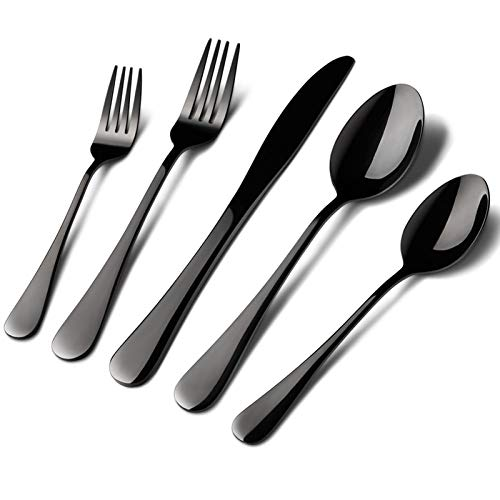Black Silverware Set Stainless Steel, 40 Pieces Utensil Serve for 8 Including Fork Spoon and Knife, Mirror Polished Flatware Sets with Gift Package Suit Wedding(Shiny Black)