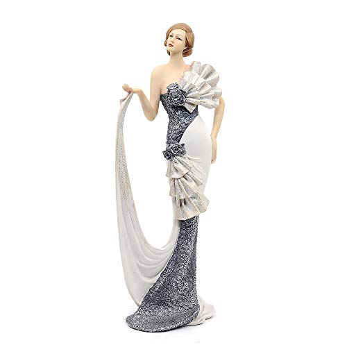 Comfy Hour Glamour Elegance Victorian Style Lady Collection Elegant Slim Lady Lifting Up Skirt Collectible Figurine, 13-inch Height, Gray & White, Polyresin