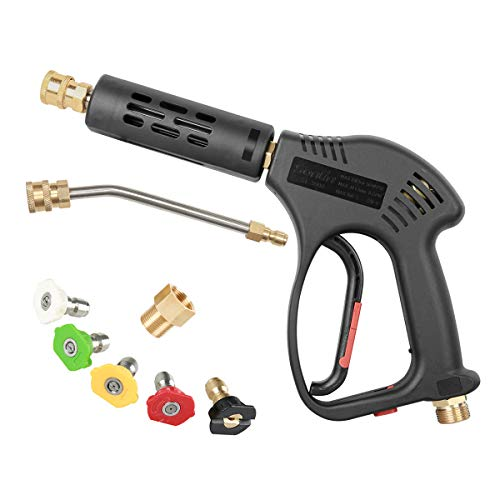 CHAVOR Pressure Washer Spray Short Gun Kit, 5 Quick Color Nozzle Tips with 7 Inch Extension Curved Rod, M22 Fitting, Hot and Cold Water Replacement, 5000 PSI