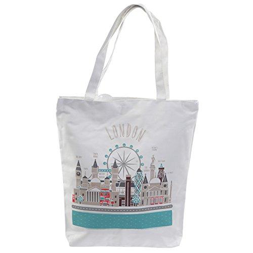 EliteKoopers Einkaufstasche mit Reißverschluss, umweltfreundlich, wiederverwendbar, stark, handlich, Baumwolle, 1 Stück, London Icons