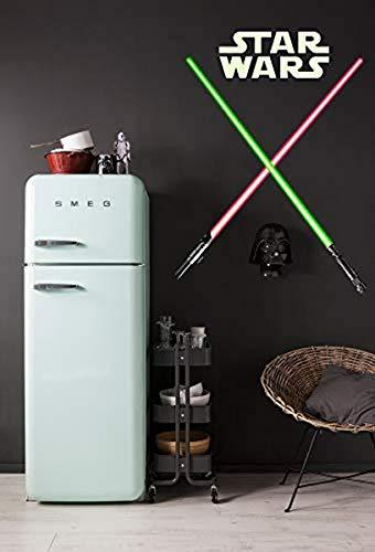 Komar 14020h, Grün/Rot Star Wars-Deco-Sticker LIGHTSABER-50 x 70 cm-Wandtattoo, Wandsticker, Wandaufkleber, Wandbild, Lichtschwerter, Jedi, Jedi-Ritter-14020h