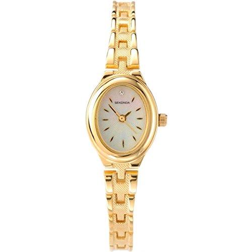 Sekonda Damen Armbanduhr mit Perlmutt Zifferblatt Analog-Anzeige und Gold Legierung Armband 4547.2700000000004