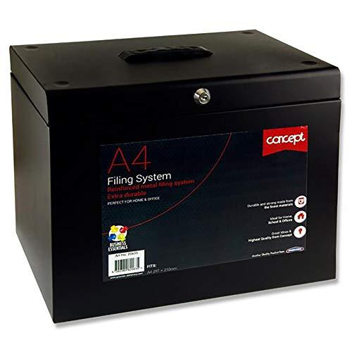 Premier Stationery C5220635 Concept - Archivador de metal (tamaño A4), color negro