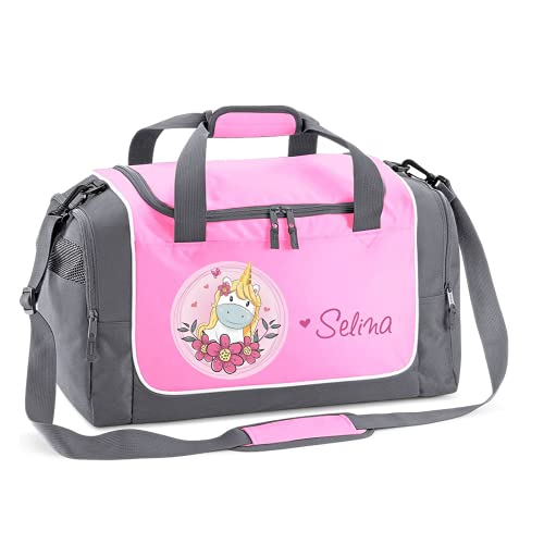 Mein Zwergenland Sporttasche Kinder personalisierbar 38L, Kindersporttasche mit Name und Einhorn Bedruckt in Rosa