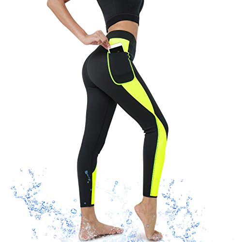CtriLady Neoprene Wetsuit Long Pants Diving Suit Snorkeling Surfing Swimming Canoeing Leggings for Women (Black-Yellow, Large)