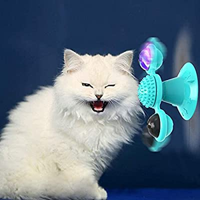 YUTANG Interactive Windmill Cat Toys with Catnip : Cat Toys for Indoor Cats Funny Kitten Toys with LED Light Ball Suction Cup‖Cat Nip Toy for Cat chew Exercise from YUTANG