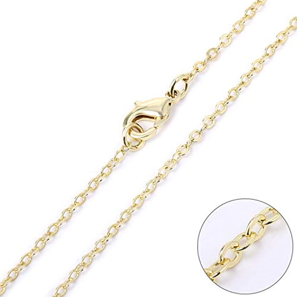 Wholesale 12 PCS Gold Plated Brass Flat Cable Chain Finished Necklace Chains Bulk for Jewelry Making (18 Inch(1.5MM))