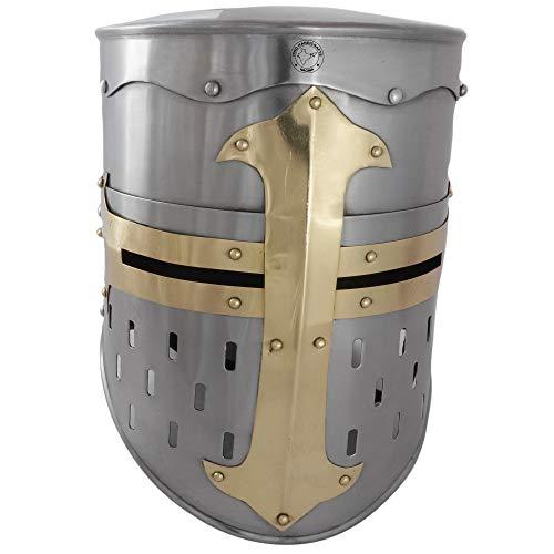 Hind Handicrafts Casco Medieval Knight Templar Armour Adulto – Accesorios Crusader Warrior – Forro de cuero ajustado – LARP, Halloween & Role Play – Latón plateado