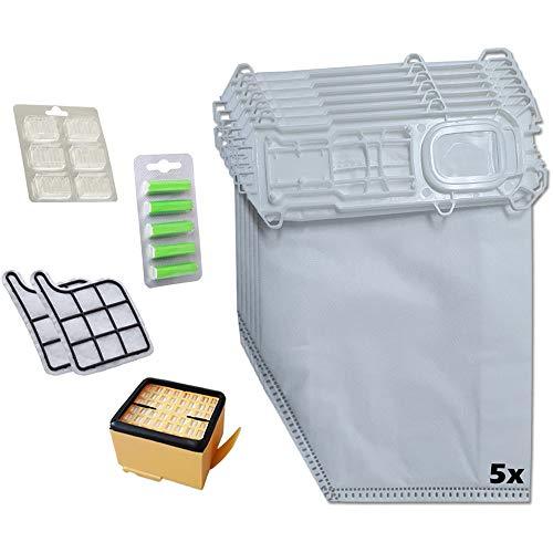 5 bolsas de aspiradora + filtro HEPA + 2 filtros de protección del motor + 6 ambientadores + 5 desodorantes verdes adecuado para Vorwerk Kobold VK 135 136 SC, VK135, VK136 y VK135SC