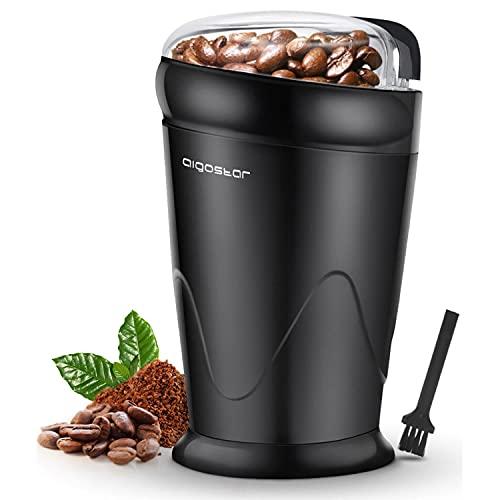 Aigostar Breath 30CFR - Molinillo compacto de café, especias, semillas o granos, capacidad 60 gr, cuchillas de acero inoxidable con láminas antidesgaste. Libre de BPA. Diseño exclusivo.