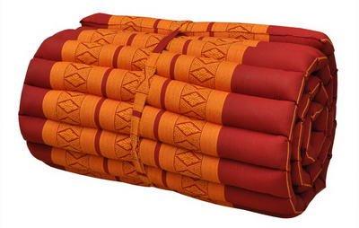 Wilai Kapok Thaikissen, Yogakissen, Massagekissen, Kopfkissen, Tantrakissen, Sitzkissen - rot/orange (Rollmatte schmal 55x5x180 (81013))