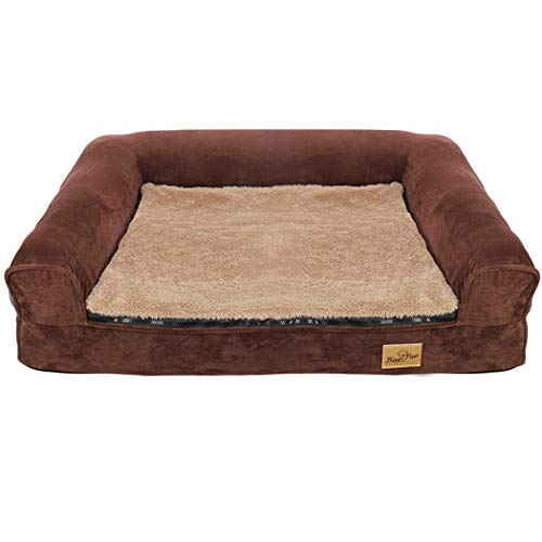 Bingopaw Foam Orthopaedic Dog Bed, Perfect and Comfortbale Sofa Bed with Removable Cover Brown 80x60x17cm