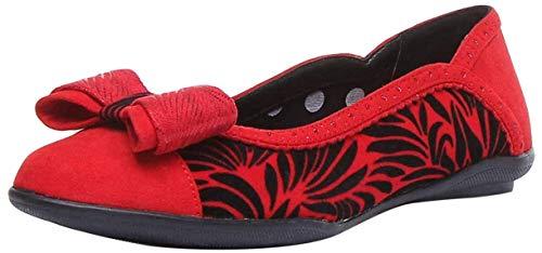 Ruby Shoo Damen Ballettschuhe, flach, gepunktet, bernsteinfarben, Schwarz, Rot - hellrot - Größe: 36 EU