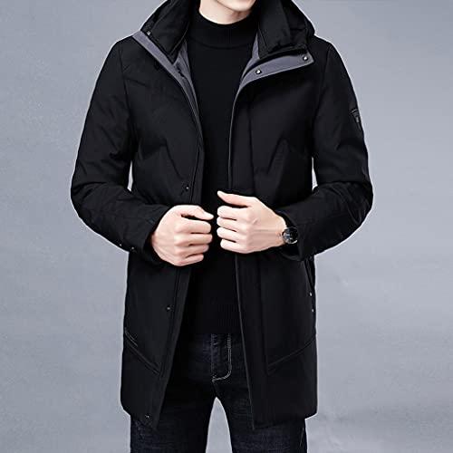 XYZMDJ Invierno casual moda largo parka 90% blanco pato abajo abrigo hombre rompevientos chaqueta con ropa de hombre con capucha (Color : B, Size : X-Large)