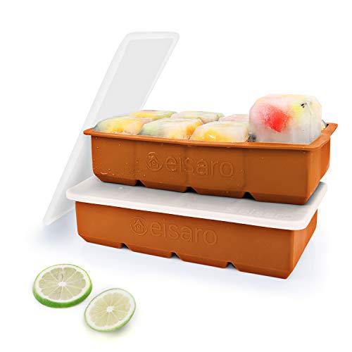 Bandejas de hielo de silicona con tapas, molde de hielo de gran tamaño, fácil de quitar y sin BPA para alimentos para bebés, whisky, cócteles, juego de 2, Naranja