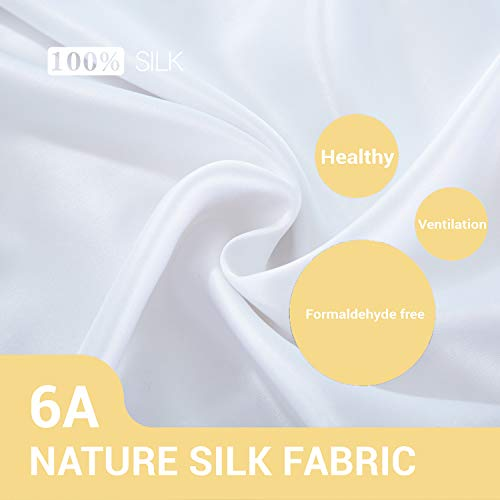 ZIMASILK 100% Mulberry Silk Pillowcase for Hair and Skin ,Both Side 19 Momme Silk, 1pc (Queen 20''x30'', White)