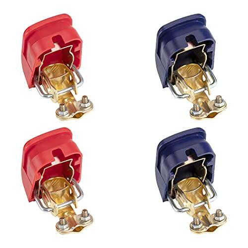 Batterieklemmen Auto Batterie Schnellklemmen 12V Batteriepolklemmen Schnellverschluss Batterieklemme für Auto Motorrad Truck Boot Rot Blau 2 Paare