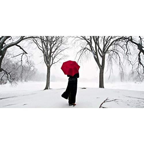 ZHANGFBH Leinwand Gemälde Moderne Abstrakte Figur Leinwand Malerei Hand Malen Menschen Mit Regenschirm Poster Wandkunst Bilder Für Wohnzimmer Dekoration
