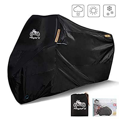 """HighFii Motorcycle Cover All Season Waterproof 300D Premium Bike Cover Fits up to 104"""" (XXXL)"""