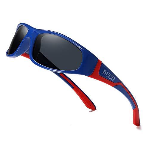 DUCO Kinder Kinder Sport Stil polarisierte Sonnenbrille mit Gummi flexibleRahmen für Jungen und Mädchen (Blau Rot)