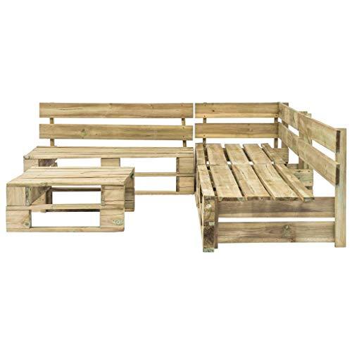 Egcsf Juego de 4 paletas para jardín, jardín, sala de estar, resistente a la intemperie, madera FSC, color verde
