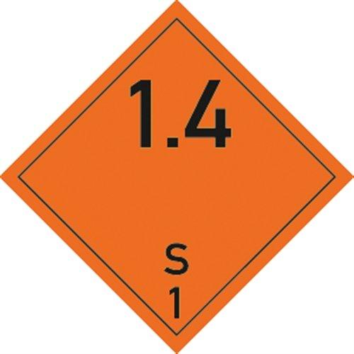 Aufkleber Explosive Stoffe u. Gegenstände mit Explosivstoff, Ukl. 1.4/S, Folie, 10x10 cm, 10 St.