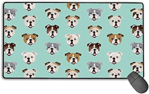 Gaming Mouse Pad Large (15.7x29.5x0.1 in) Home Office English Bulldog Dog Face Mint Green Mouse Mat Non-Slip Desk Pad with Anti-Fray Stitched Edges for Keyboard Laptop