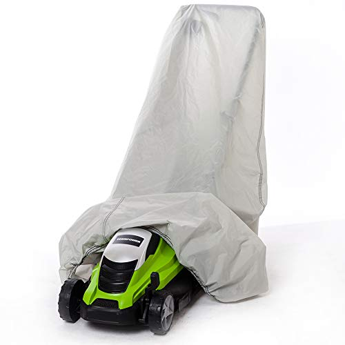 """Lawn Mower Cover,Heavy Duty 600D Oxford Walk Behind Weeding Machines Protectors ,Waterproof, UV Protection And Universal Fit Tractor Cover, Large Size 47""""X40""""X32"""" With Satisfaction Guarantee (Grey)"""